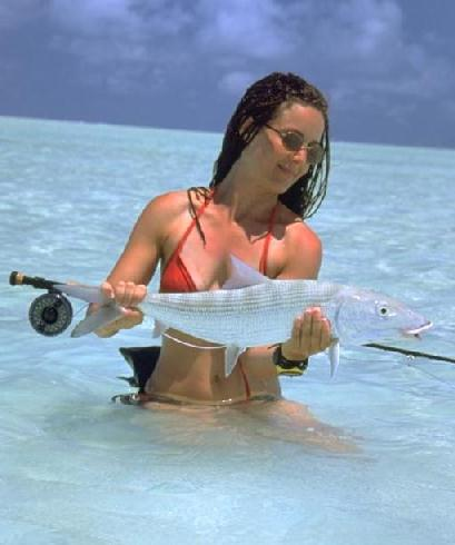 Miss Hooper catches a fish