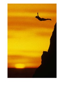 53578~Cliff-Diving-At-Sunset-Posters