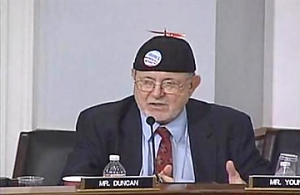 """Rep. Young's button reads, """"Obama's Energy Plan"""". How did he know?"""