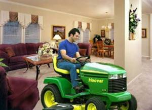 A manly man demonstrates proper male housecleaning