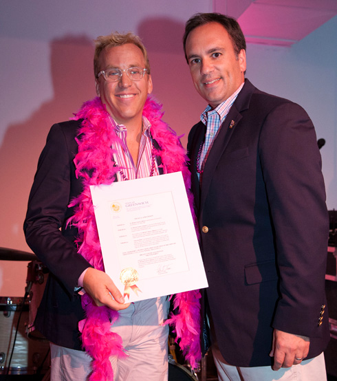 Peter Tesei presents certificate of accomplishment to Greenwich's first decloseted pro golfer