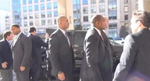 """Body guards protect Mayor Mike Bloomberg at meeting of """"Mayors Against Illegal Guns"""""""