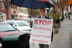 Greenwich Democrat Chairman Francis Fudrucker  (in drag) protests on Greenwich Avenue
