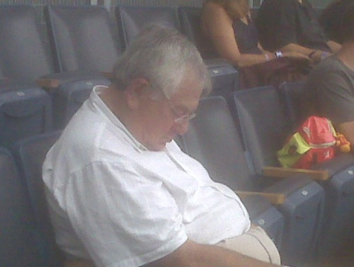"""Noted Greenwich philanthropist """"Dutch"""" Dozer waits for company in the  A-Rod cheering section, Yankee Stadium, 8/22/2013"""