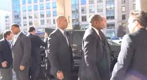 Mayor Mike and his six armed bodyguards arrive at Mayors Against Guns press conference