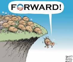 Lemmings off cliff