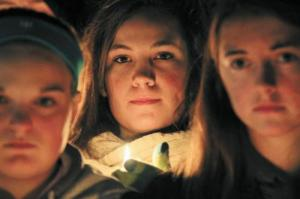 """Lunenberg students hold candlelight ceremony to show support for their friend and """"victim"""""""
