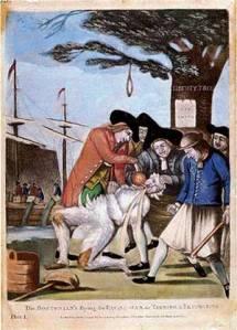Tea Party ruffians, per British propaganda poster, 1774
