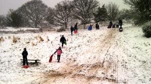 British children sledding, 2014