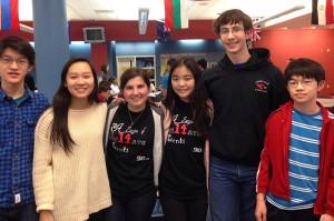 From left, Greenwich High School math team members Andrew Ma, Julia Wang, Elisa Martinez, Fiona Young, Michael Kural and Steven Ma.