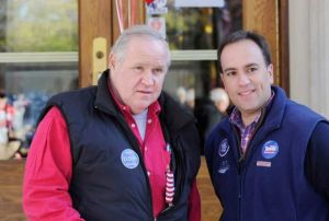 Greenwich Selectman Peter Tesei (R) with unidentified supporter