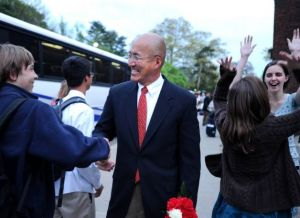 Band Director John Yoon welcomes his students aboard the Che Guevara Brigade bus; off to cut cane!
