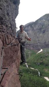 John climbing the Via Ferrata in Telluride - he may be ill, but he's game
