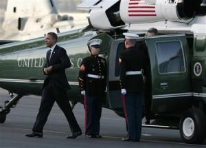 """Obama and your money arrive at Bob Hope Airport, Burbank: """"Time to take the dough, nuts""""."""