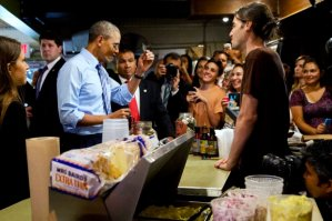 """POTUS  """"not interested in a photo-op at the border, but  at a barbecue joint? Of me cutting the line because I'm important? Like white on rice, babe."""""""