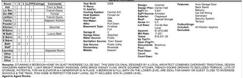 Listing sheet, 8 Colonial
