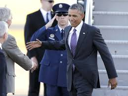 Aug. 29, 2014: The president arrives in Warwick, RI, to discuss the world situation with his top Rhode Island advisors