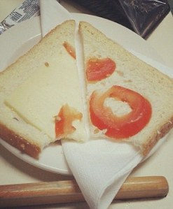 "Tomato and cheese ""sandwich"""