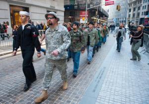 Gay Men's Costume Brigade march against capitalism and global warming, Wall Street