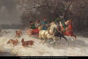 "Only the rich can afford a sleigh: ""Fleeing the wolves"""