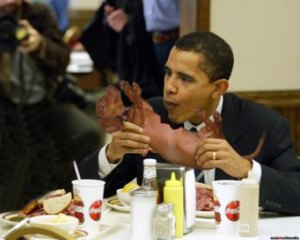 """Obama Dog: """"It's no longer red meat once you cook it. Besides, taste more like chicken, to me."""""""