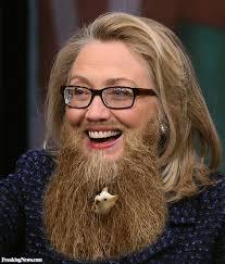 Hillary with beard